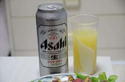[画像がありません]ビールと飛騨りんごジュース